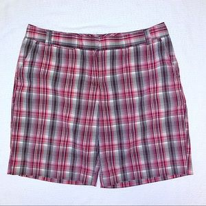 IZOD Bermuda Shorts 14 Plaid Stretch Flat Front